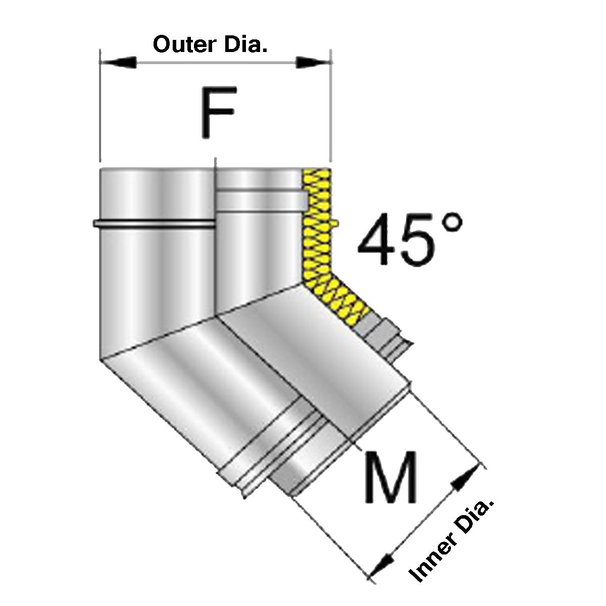 Afvoer bocht DW 45 graden Ø80-130mm