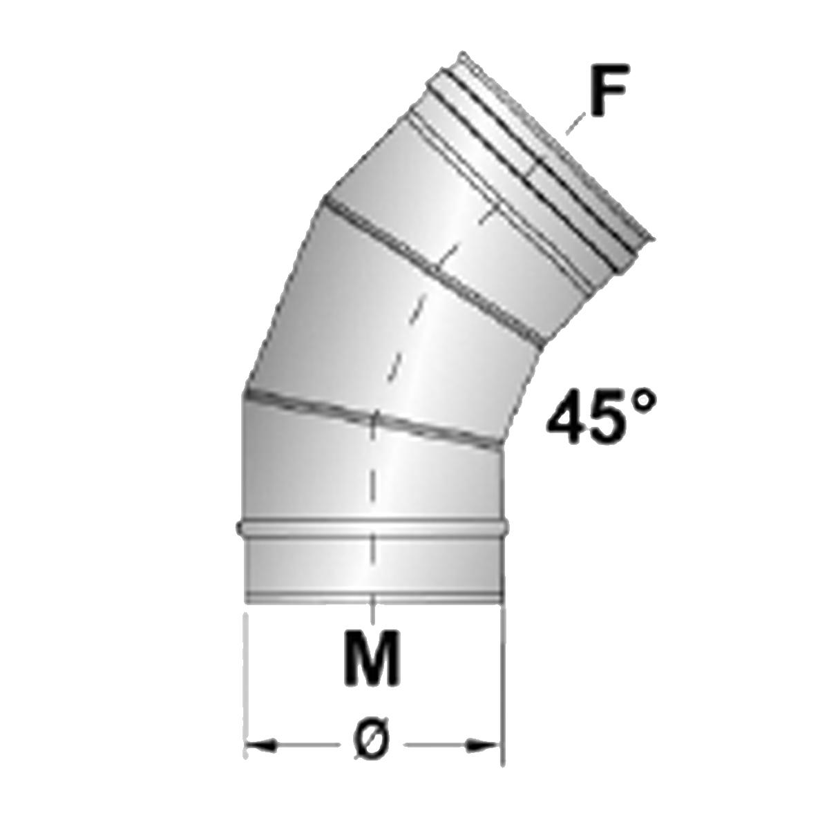 Afvoerbocht 45 graden RVS-Ø80mm