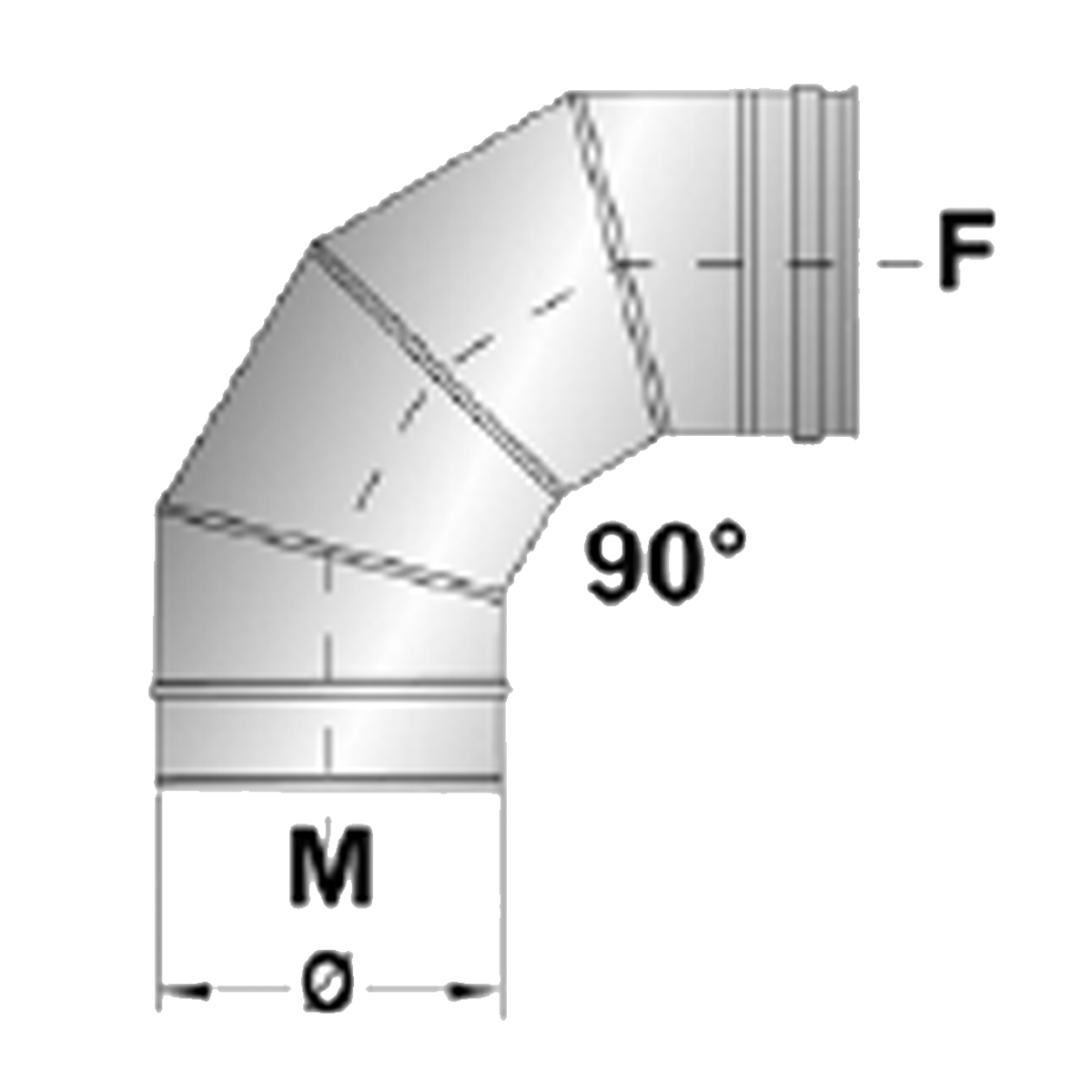 Afvoerbocht 90 graden RVS-Ø100mm