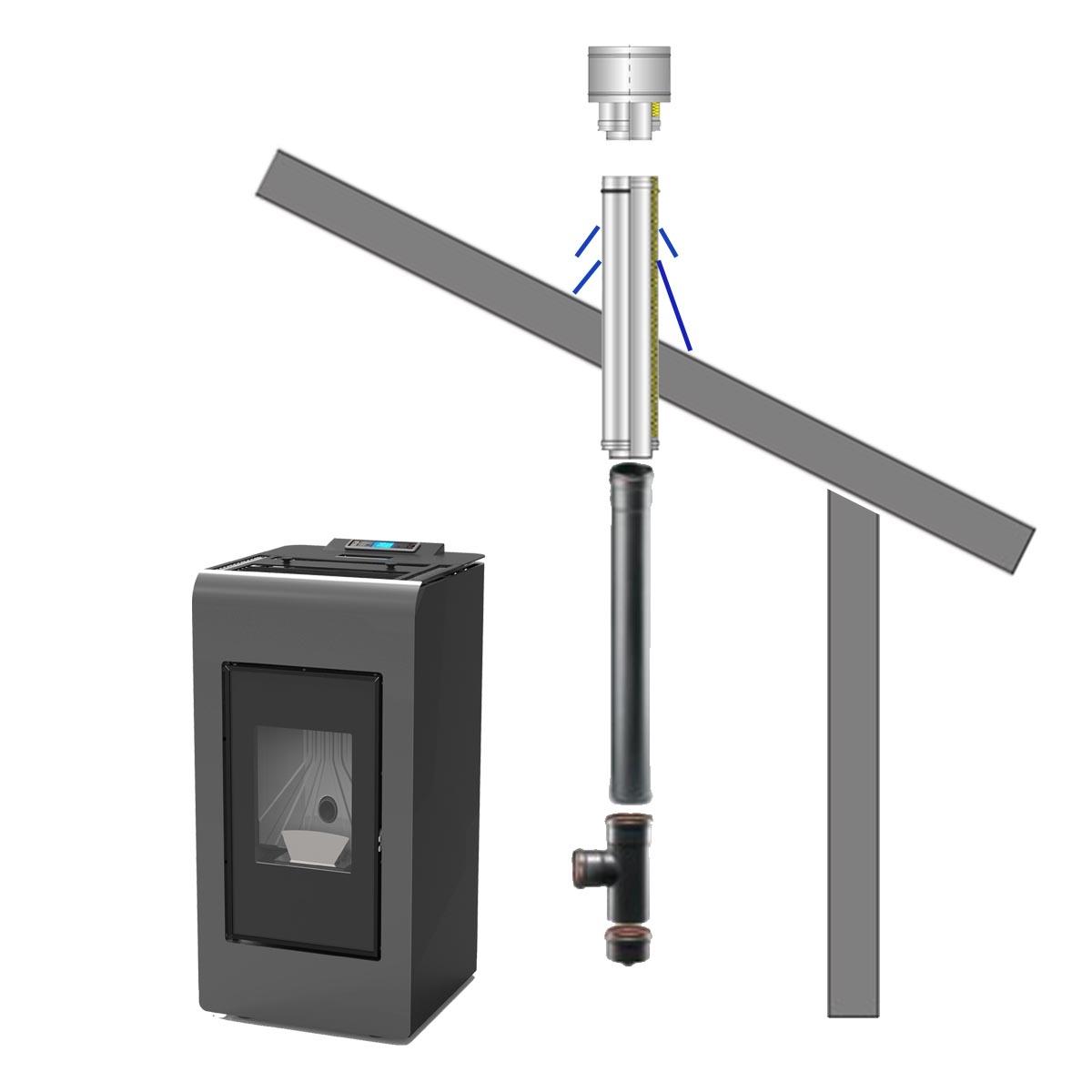 Afvoer systeem 3 - Schuin dak / open toestel
