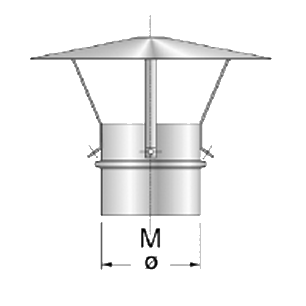 Afvoer Chinese kap-Ø80mm-RVS