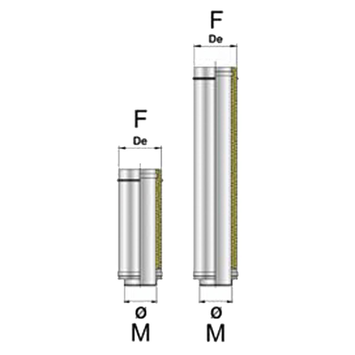 Afvoerbuis DW 25 cm, Ø80/130mm-RVS