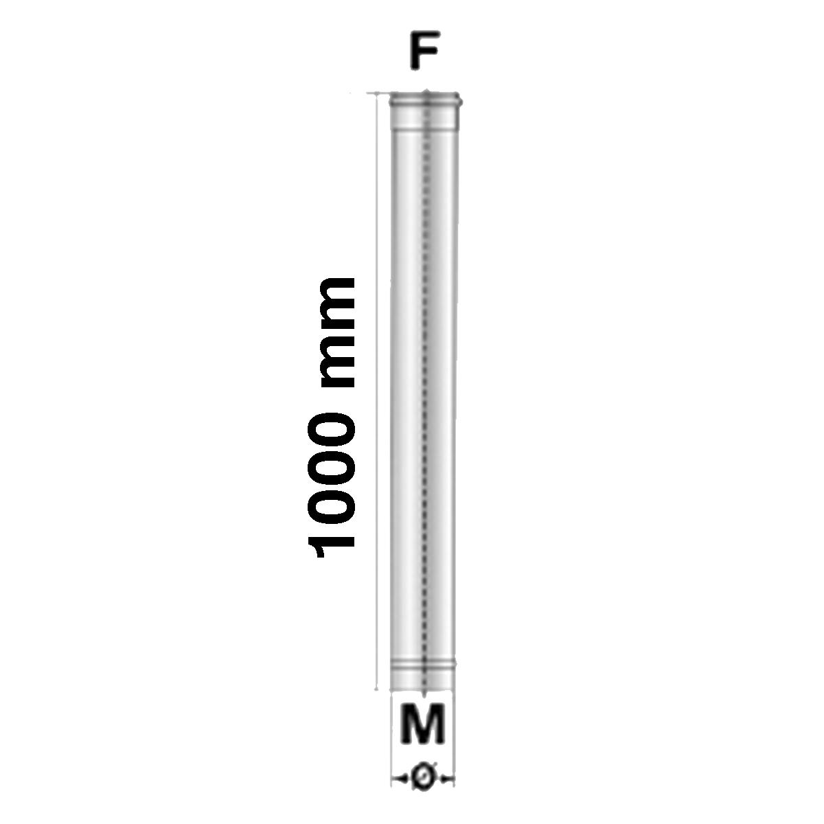 Afvoerbuis 100 cm-Ø80mm-RVS