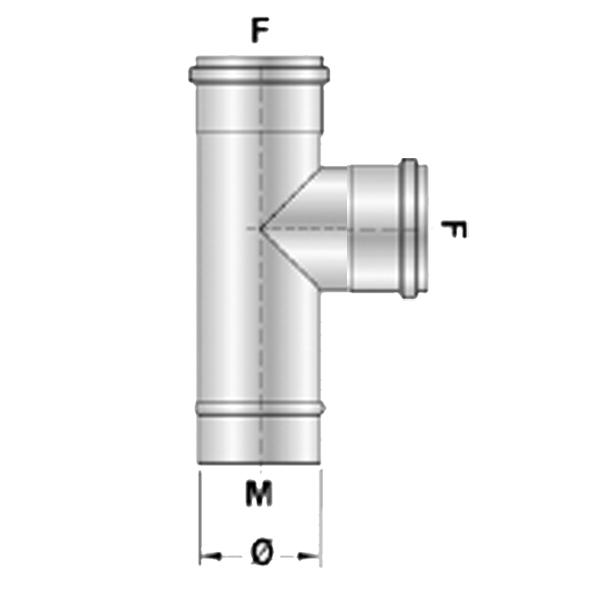 T stuk RVS F/F Ø80mm